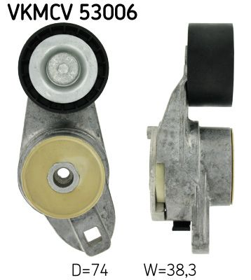 įtempiklio skriemulys, V formos rumbuotas diržas VKMCV 53006